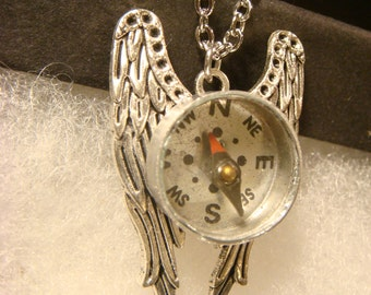 Real Working Compass on Wings Steampunk Inspired  Necklace (2039)