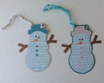 Gift Tags, Snowman, Set of 6, Hang Tags, Holidays, Christmas