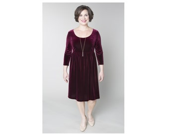 Velvet Empire Waist Dress Customizable Dress Length, Sleeve, and Neckline Shape Sizes 2-28