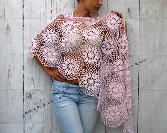 Women Accessories baby pink cotton 100%  ... Crochet shawl