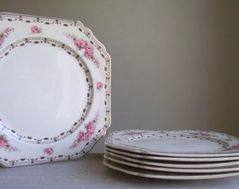 """Coronation Rose Plates by Thomas Hughes / 9"""" Lunch Plates Set of 6 / 1930s Pattern 4857 / Cottage Chic Decor / 9"""" Plates"""
