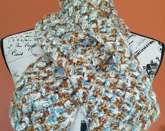 Ice Pond Slip-Through Crocheted Scarflette - Ready to Ship