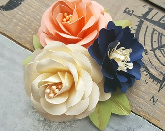 Corsages - Boutonnieres - Paper Flowers - Weddings - Bridal Shower - Baby Shower - Blue and Salmon - Made To Order