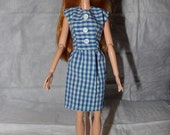 Cute blue & white checked dress with buttons for Fashion Dolls - ed869