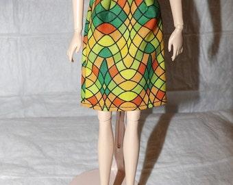 Fashion Doll Coordinates - Colorful geometric print skirt - es390