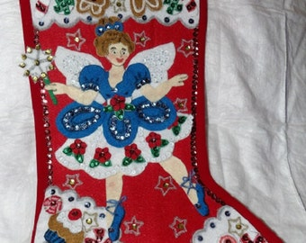 Handmade finshed Sugar Plum Fairy Christmas Stocking - fsk9