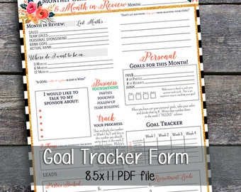Direct Sales - Monthly Goal Planner - Printable - Digital - BW Pattern - Instant Download
