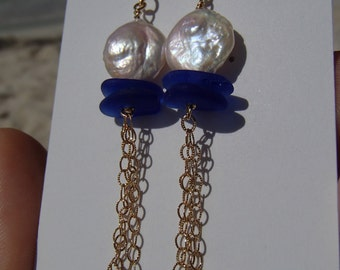Gold filled Freshwater Coin Pearls and Cobalt Sea glass Earrings (S22)