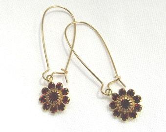 Bohemian Garnet Gold Brass Earrings/ Pierced