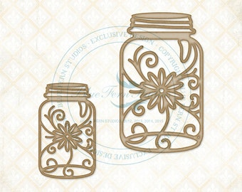 BF Shabby Floral Jars, Scrapbooking, Chipboard, Mixed media, Card Making