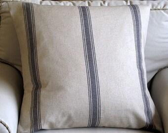 18x18, 20x20, 22x22, 24x25, 26x26 Pillowcharcoal stripe French Laundry