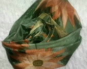 SOLD Silk scarf handpainted/ Mexican terracotta daisies/gold bronze copper /Original design OOAK/free shipping