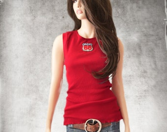 Tank top red/Route 66 patch tee/Sleeveless knit shirt