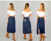 LABOR DAY SALE Sale • 70's Embroidered Denim Saddle Skirt