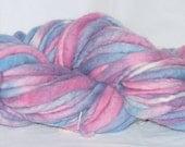 Bubblegum Bulky Yarn | Pink White & Blue Handspun Art Yarn | Thick and Thin Yarn | aprox 70 yards