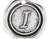 """Add On Initial """"I"""" Charm, personalized letter charm, monogram, Personalized Keychain, Personalized Necklace, antiqued silver plated charm"""