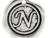 """Add On Initial """"N"""" Charm, personalized letter charm, monogram, Personalized Keychain, Personalized Necklace, antiqued silver plated charm"""