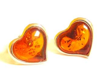 Baltic Amber Heart Cognac Earrings Studs 925 Silver