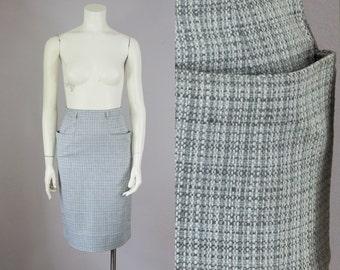 "50s Vintage Grey Weave Large Hip Pockets High-Waist Pencil Skirt (XS; 24"" Waist)"