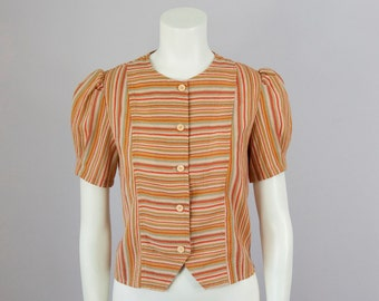 80s Vintage 30s Style Puff Sleeve Striped Button Blouse (S)