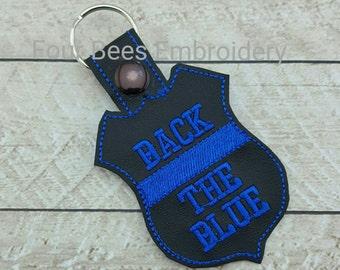 Back the blue police shield badge keyfob keychain  buy 5 get 1 free