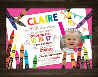 Crayon Invitation with Photo -- Kids Crayon, craft party -- Printable Birthday Invitation -- Any Color