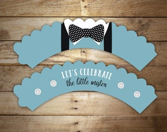 12 Bow tie Cupcake Wrappers - Suspenders cupcake wraps, Black and Blue Baby Shower Decoration, Party Decor, Any color
