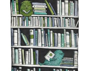 In the bookshelf - Art print (3 different sizes)