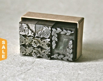 August is Letterpress Month - 20% off Christmas Greenery Letterpress Ornaments or Dingbats for Printing Stamping or Decor