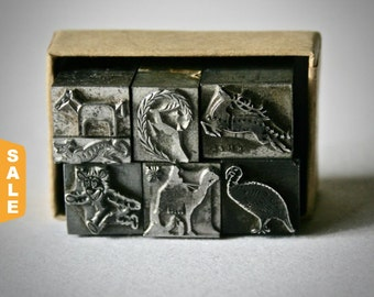 August is Letterpress Month - 20% off Letterpress Animal Ornaments or Dingbats for Printing Stamping and Decor