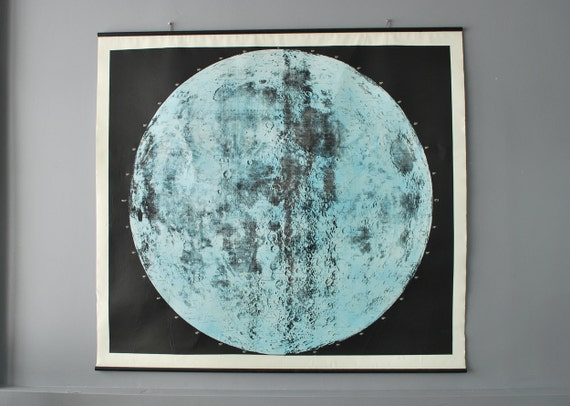 Unique Large Hand Printed Lunar Chart Ready to Hang