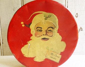 Vintage Mrs. Steven's Santa Face Candy Tin - Santa Claus Face - 1950s - Vintage Christmas Decoration - Mid-Century - Collectable Tin