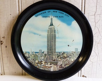 New York City Souvenir Tray - Empire State Building - Mid-Century 1950s - 1950s New York City - Tin Serving Tray - Metal Serving Tray