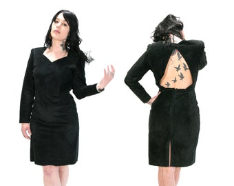 Vintage 1980's G-111 Leather Fashions Genuine Leather Black Dress with Cut Out Back and Slight Shoulderpads Witchy Goth Grunge Silhouette M