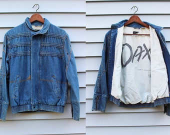 Vintage Vtg Vg 1990's 90's 1980's 80's DAX Jean Jacket Metal Zipper Snap Buttons Retro Hipster Grunge Men's Size Small Cotton