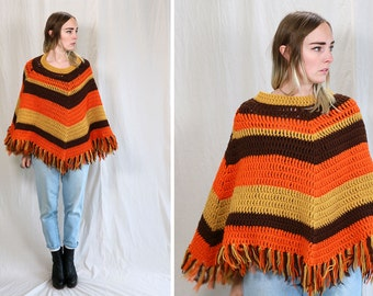 Vintage VTG Vg 1970s 70s 1960s 60s Retro Neon Orange Brown and Ochre Fringe Poncho Fall Winter Bohemian Danish Motorcycle Ladies One Size