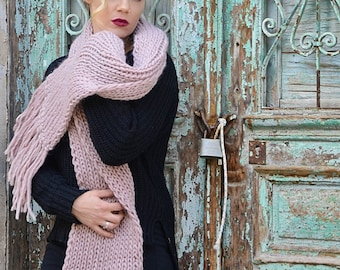 Long Knit Scarf, Chunky Knitted Scarf, Pure Wool Scarf, Super Scarf With Tassels, Gift For Her, Women's Knitwear, Ribbed Scarf,Fashion Scarf