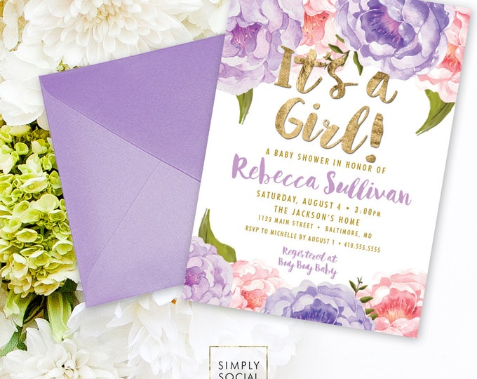 Floral Baby Shower Invitation - Floral Peony Pink Purple Faux Gold Foil Boho Flowers Watercolor Botanical It's a Girl Printable Party Invite