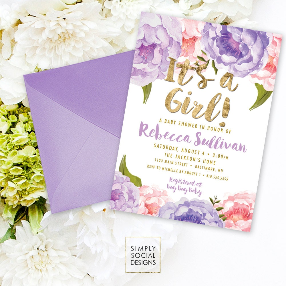 Floral Baby Shower Invitation - Floral Peony Pink Purple Faux Gold ...