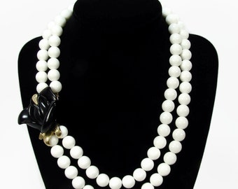 Kenneth Jay Lane for Avon Necklace, Midnight Rose, Vintage Jewelry, KJL Avon, Vintage Necklace, Black Rose, White Necklace, Bead Necklace