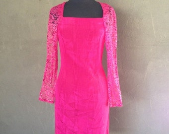 70% OFF Vintage 1980s Hot Pink Cocktail Event Lace Dress XS/S (e)