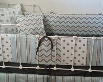 SALE!  Blue Chevron Crib Bumper, Striped Crib skirt, Patchwork bumper, bumperless crib bedding, baby boy crib set, gray chevron bumper