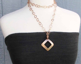 Long Bronze Necklace with Hammered Bronze Square Pendant Layering Chain Necklace Handmade Modern Metal Jewelry Eighth 8th Bronze Anniversary