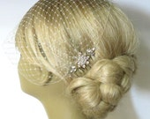 Reserved///////Champagne Birdcage Veil and a Gold Bridal Comb  x 5 pcs