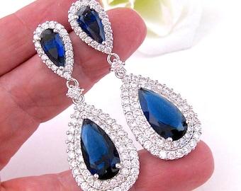 Wedding Earrings, Bridal Earrings Sapphire Blue Tear Drop Vintage Style Luxury Cubic Zirconia Fancy Pageant Earrings Wedding Jewelry