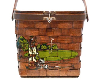 Caro Nan Picnic Basket Purse Vintage Golfing Box Bag Putting Green with Golf Clubs handbag 1970s Basket Weave Top Handle Tote The 8th Hole