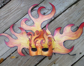 One of a kind mask, Masquerade Mask, OOAK, Halloween Fire mask, Flames, Gala, Costume Ball, Carnival Mask, Venetian Mask, Sexy mask,