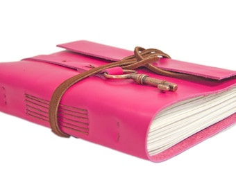 Deep Pink Leather Journal - Leather Journal - Blank Paper - Travel Journal - Leather Bound Journal - Travel Journal - Wrap Journal - Key -