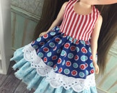 Blythe Shabby Chic Dress - Red Blue and Aqua