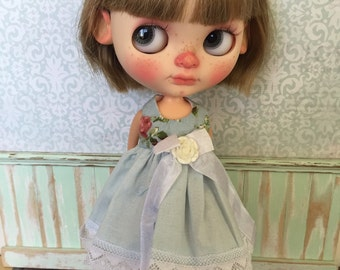 Blythe Dress - Blue with Roses
